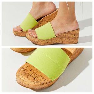 UO Heather Cork Wedge Lime Green Slide Heel 10 EUC